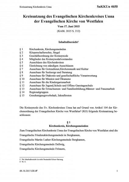 4650 Kreissatzung Kirchenkreis Unna