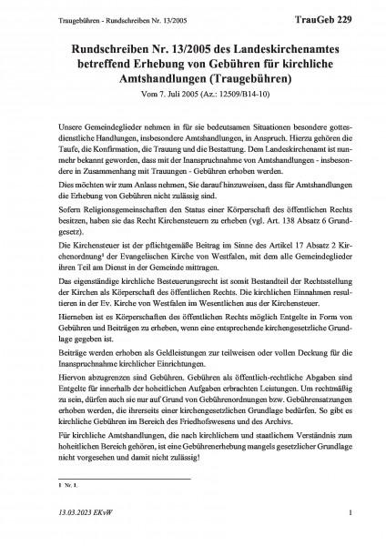 229 Traugebühren - Rundschreiben Nr. 13/2005