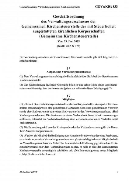 833 Geschäftsordnung Verwaltungsausschuss Kirchensteuerstelle
