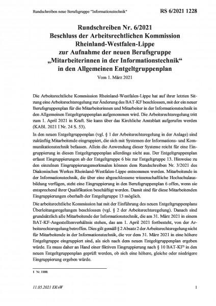 """1228 Rundschreiben neue Berufsgruppe """"Informationstechnik"""""""