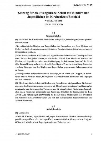 3153 Satzung Kinder- und Jugendarbeit Kirchenkreis Bielefeld
