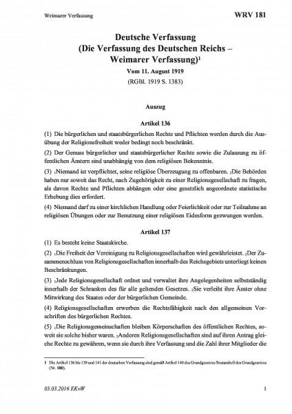 181 Weimarer Verfassung