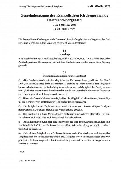 3328 Satzung Kirchengemeinde Dortmund-Berghofen