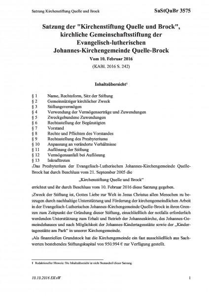 3575 Satzung Kirchenstiftung Quelle und Brock