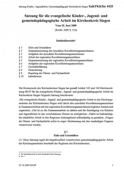 4425 Satzung Kinder-, Jugendarbeit, Gemeindepädagogik Kirchenkreis Siegen