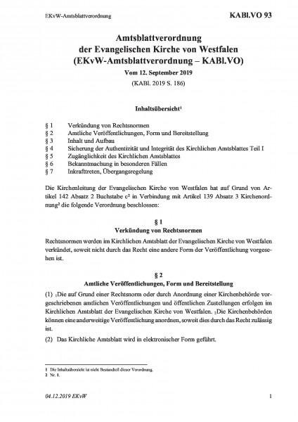 93 EKvW-Amtsblattverordnung