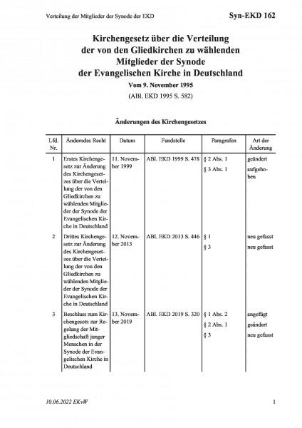 162 Verteilung der Mitglieder der Synode der EKD