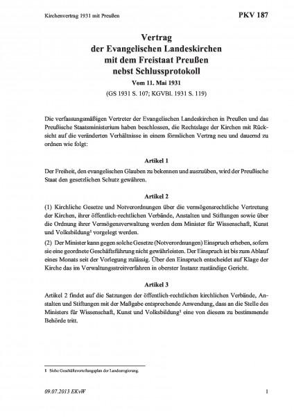 187 Kirchenvertrag 1931 mit Preußen