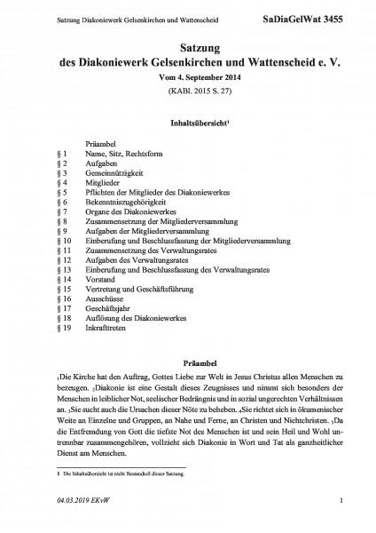 3455 Satzung Diakoniewerk Gelsenkirchen und Wattenscheid