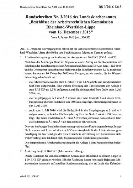 1213 Rundschreiben Beschlüsse der ARK vom 16.12.2015