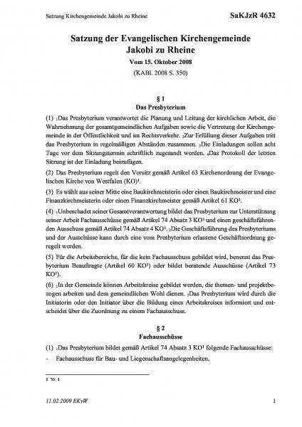 4632 Satzung Kirchengemeinde Jakobi zu Rheine
