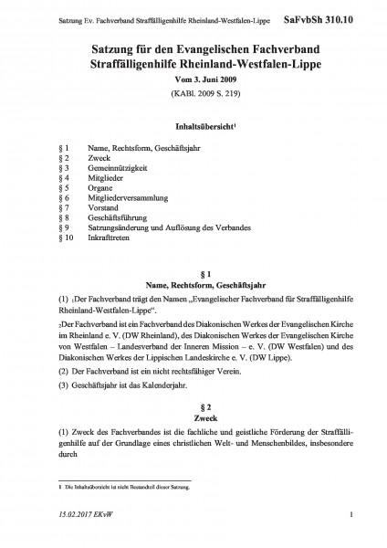 310.10 Satzung Ev. Fachverband Straffälligenhilfe Rheinland-Westfalen-Lippe