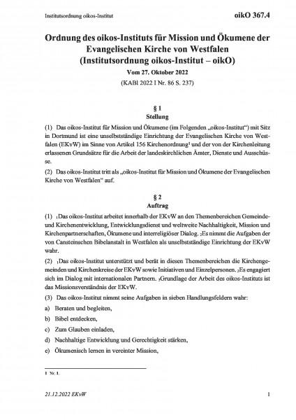 367.4 Institutsordnung Gemeindeentwicklung und missionarische Dienste