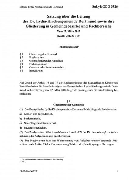 3326 Satzung Lydia-Kirchengemeinde Dortmund