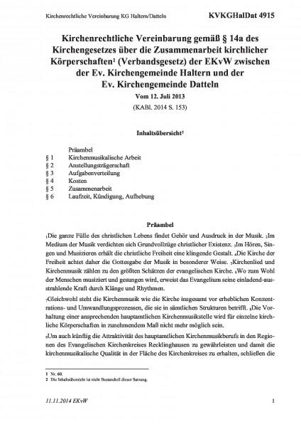 4915 Kirchenrechtliche Vereinbarung KG Haltern/Datteln