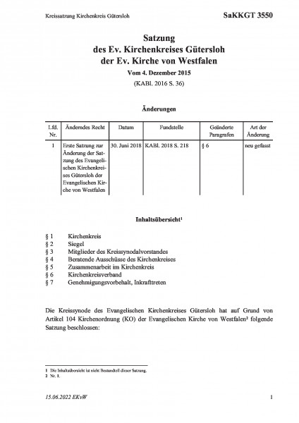 3550 Kreissatzung Kirchenkreis Gütersloh