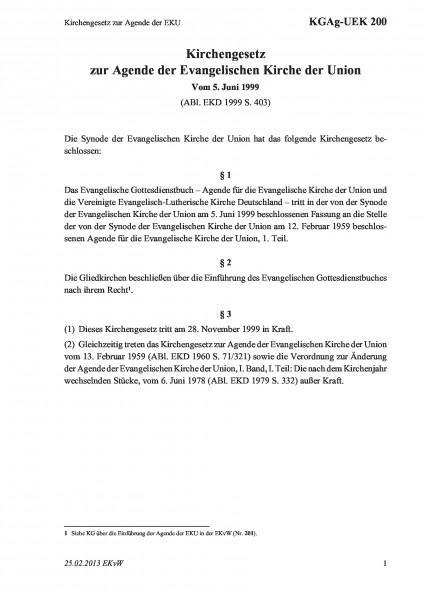 200 Kirchengesetz zur Agende der EKU