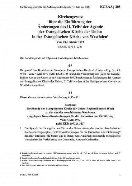 205 Einführungsgesetz für die Änderungen der Agende (II. Teil) der EKU