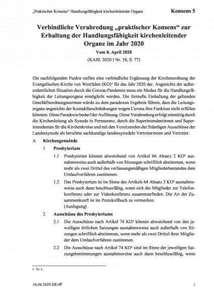 """5 """"Praktischer Konsens"""" Handlungsfähigkeit kirchenleitender Organe"""