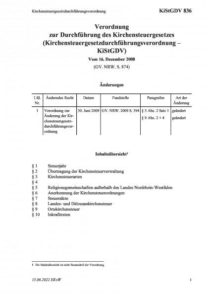 836 Kirchensteuergesetzdurchführungsverordnung