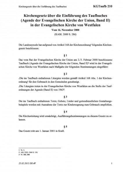 210 Kirchengesetz über die Einführung des Taufbuches