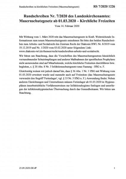 1226 Rundschreiben zu kirchlichen Freizeiten (Masernschutzgesetz)