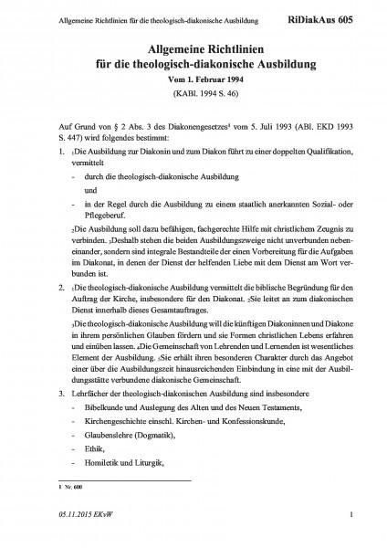 605 Allgemeine Richtlinien für die theologisch-diakonische Ausbildung