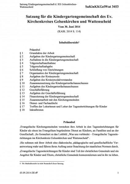 3453 Satzung Kindergartengemeinschaft d. KK Gelsenkirchen-Wattenscheid
