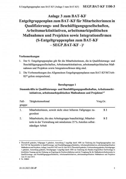 1100-3 S-Entgeltgruppenplan zum BAT-KF (Anlage 3 zum BAT-KF)