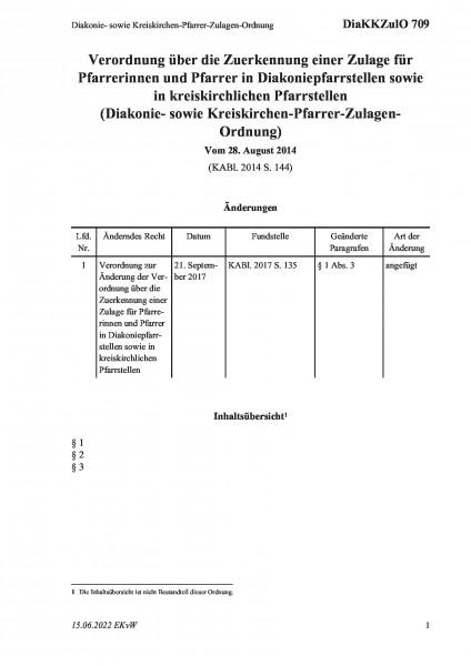 709 Diakonie- sowie Kreiskirchen-Pfarrer-Zulagen-Ordnung