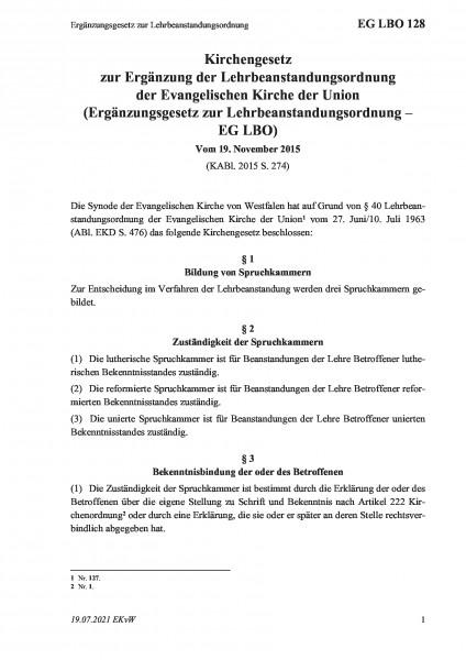 128 Ergänzungsgesetz zur Lehrbeanstandungsordnung