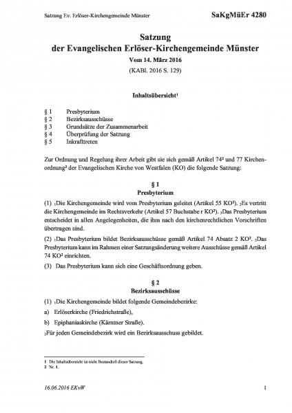 4280 Satzung Ev. Erlöser-Kirchengemeinde Münster