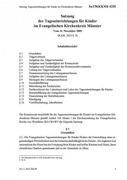 4255 Satzung Tageseinrichtungen für Kinder im Kirchenkreis Münster