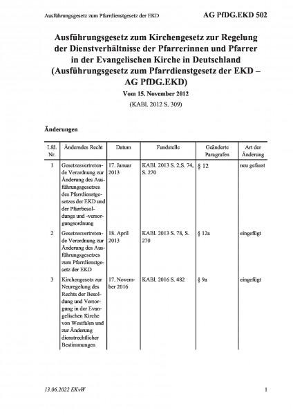 502 Ausführungsgesetz zum Pfarrdienstgesetz der EKD