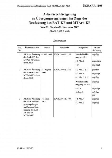 1105 Übergangsregelungen Neufassung BAT-KF/MTArb-KF-ARR