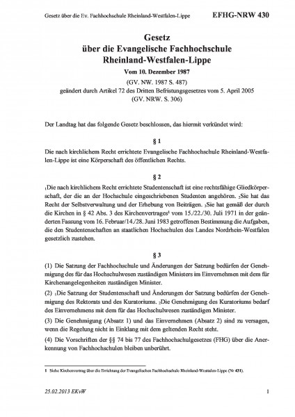 430 Gesetz über die Ev. Fachhochschule Rheinland-Westfalen-Lippe