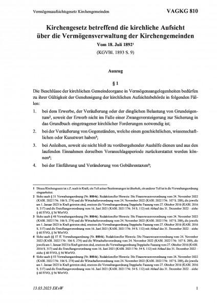 810 Vermögensaufsichtsgesetz Kirchengemeinden