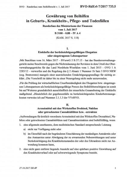 733.5 BVO – Runderlass zum Beihilferecht v. 1. Juli 2017
