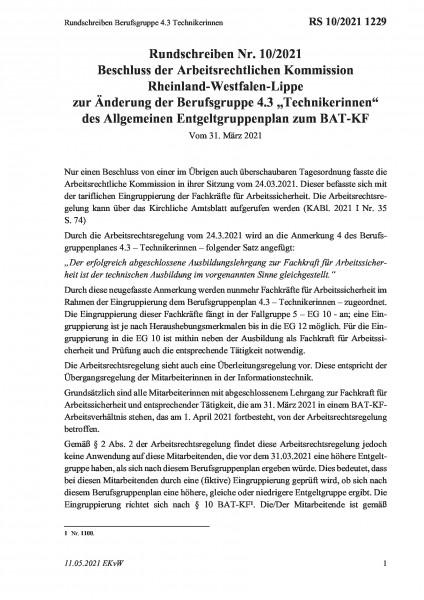 1229 Rundschreiben Berufsgruppe 4.3 Technikerinnen