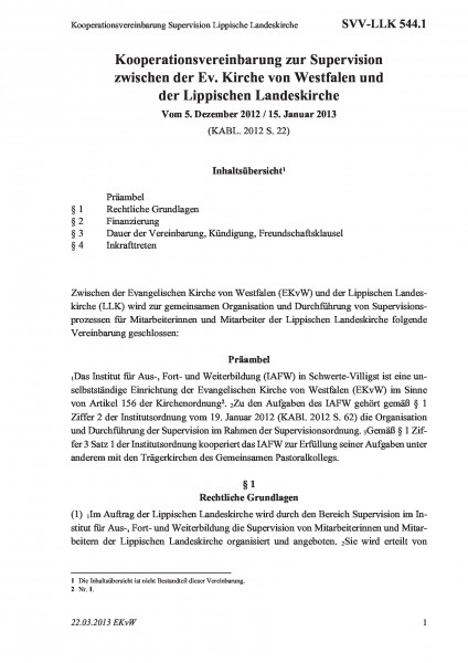 544.1 Kooperationsvereinbarung Supervision Lippische Landeskirche