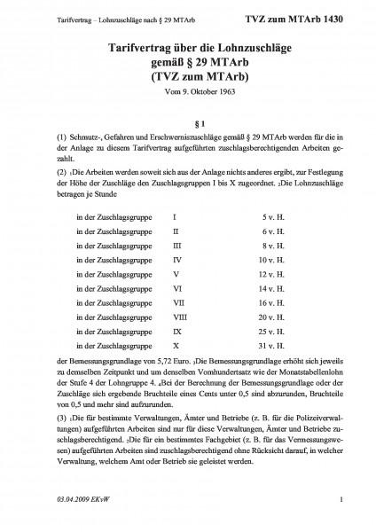 1430 Tarifvertrag – Lohnzuschläge nach §29 MTArb