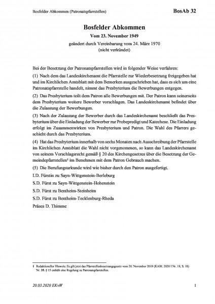 32 Bosfelder Abkommen (Patronatspfarrstellen)