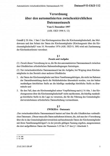 112 Automatisierte zwischenkirchliche Datenaustausch-VO