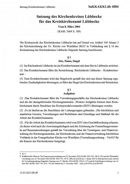 4004 Satzung Kreiskirchenamt Lübbecke