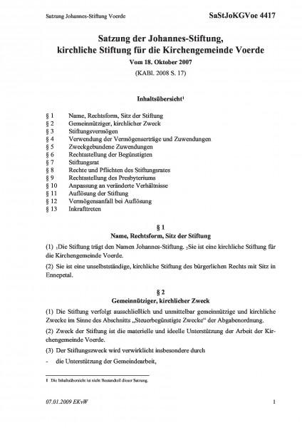 4417 Satzung Johannes-Stiftung Voerde