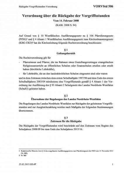 506 Rückgabe-Vorgriffsstunden-Verordnung