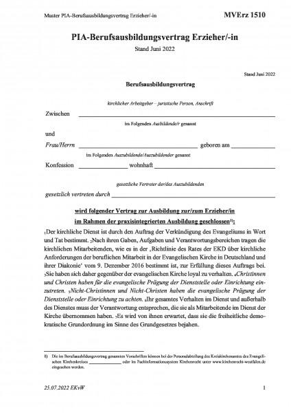 1510 Muster Berufsausbildungsvertrag Erzieher/-in