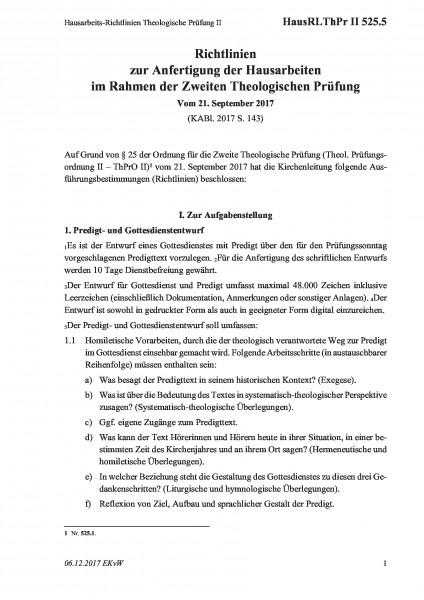 525.5 Hausarbeits-Richtlinien Theologische Prüfung II