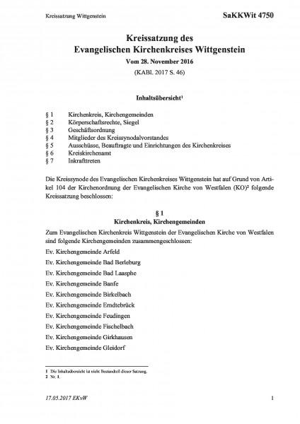 4750 Kreissatzung Wittgenstein
