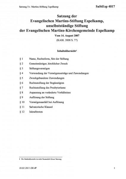 4017 Satzung Ev. Martins-Stiftung Espelkamp
